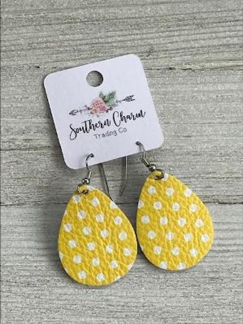 Yellow White Polka Dot Leather Mini Earrings