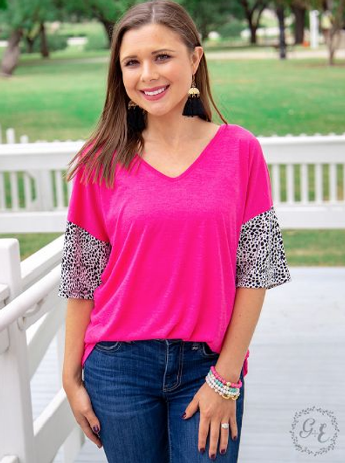 Plus Pink Crisscross Back Animal Print Sleeve Top