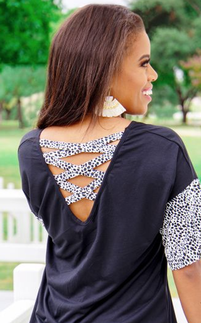 PLUS Black Crisscross Back Animal Print Sleeve Top