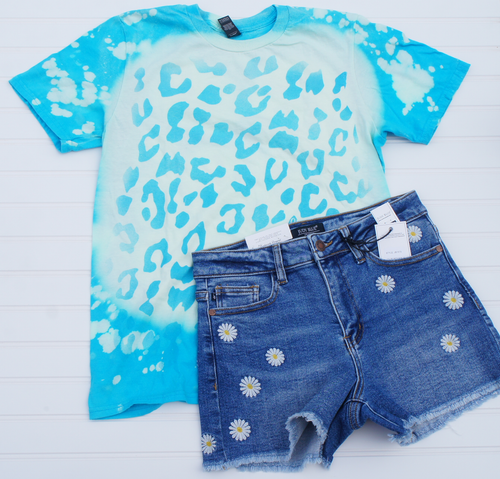 Bleached Teal Leopard Tee