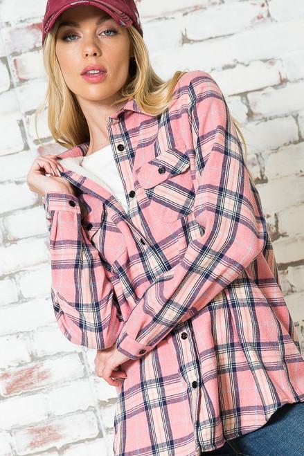 Pink Flannel Fleece Lined Shirt