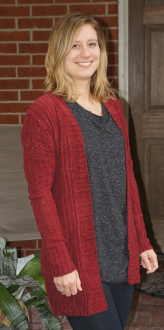 Red Ribbed Cardigan