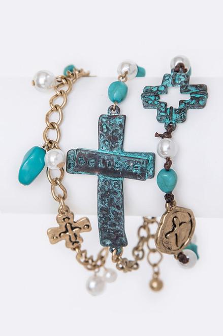 Oxidized Copper Cross Multi Strand Charm Bracelet
