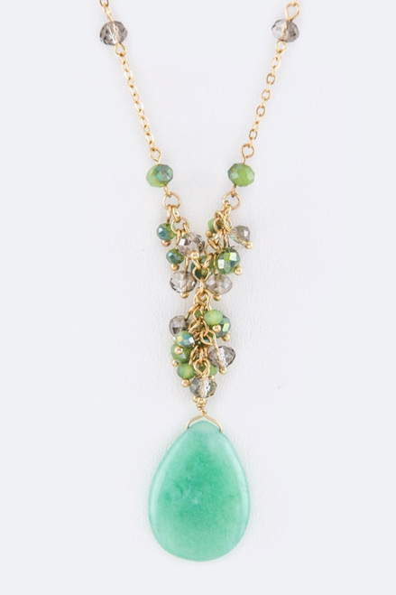Mint Green Stone and Bead Pendant Necklace