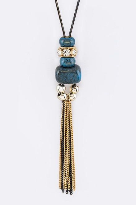 Blue Stone with Beads and Tassel Pendant Necklace