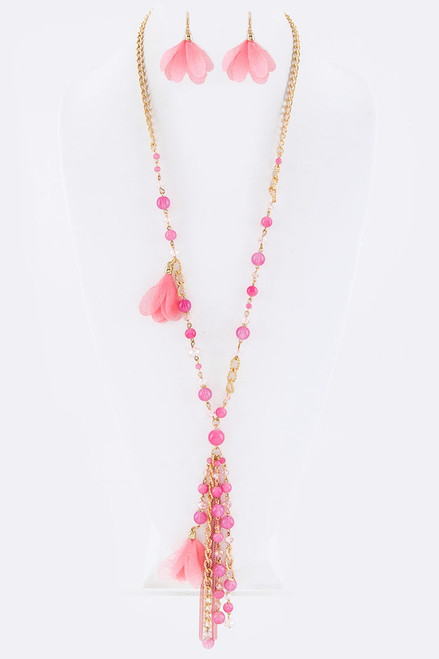 Pink Floral and Bead Pendant Necklace with Earrings