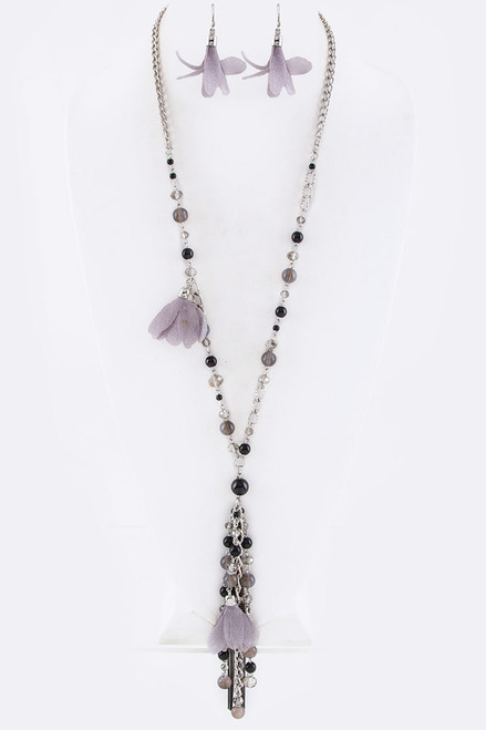 Black Floral and Bead Pendant Necklace with Matching Earrings