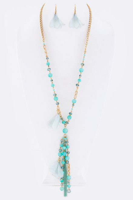 Mint Floral and Bead Pendant Necklace with Matching Earrings
