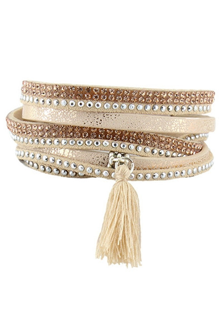 Golden Beige Rhinestone and Tassel Multi Wrap Bracelet