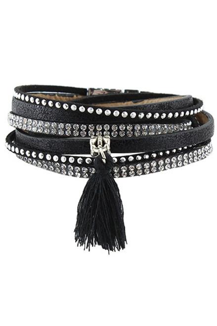Black with Rhinestones and Tassel Multi Wrap Bracelet