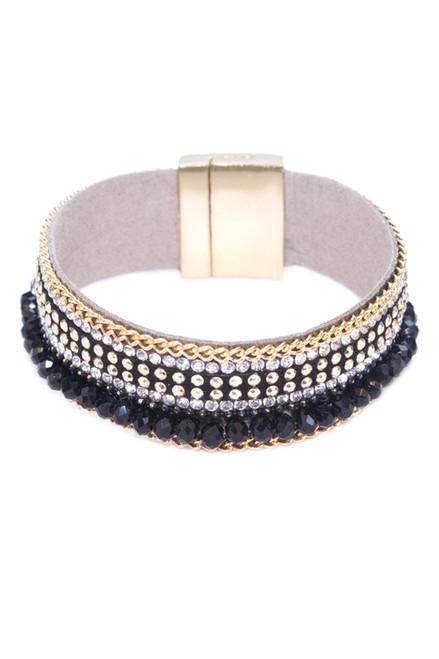 Black and Rhinestone Magnetic Close Bracelet