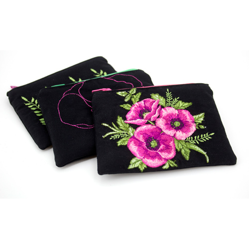 Midnight Poppies Zippered Bag