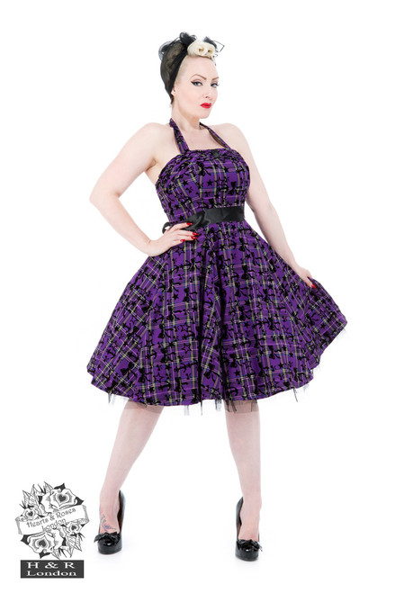 H&R London Kiara Purple Tartan Flocked Halterneck Dress