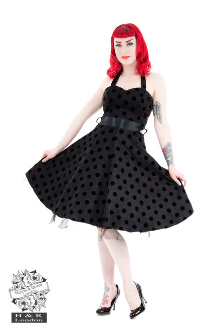 H&R London Black Black Flocked Polka Dot Swing Dress