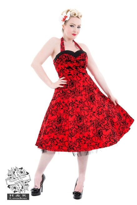 H&R London Red Taffeta Flocked Halter Dress