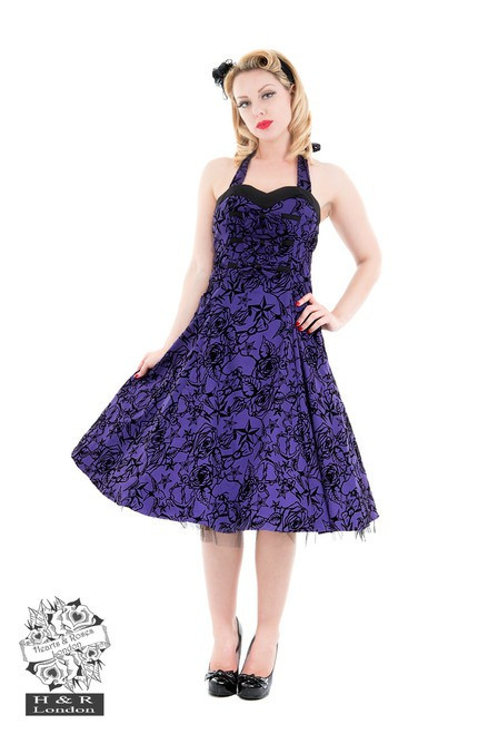 H&R London Purple Taffeta Flocked Halter Dress