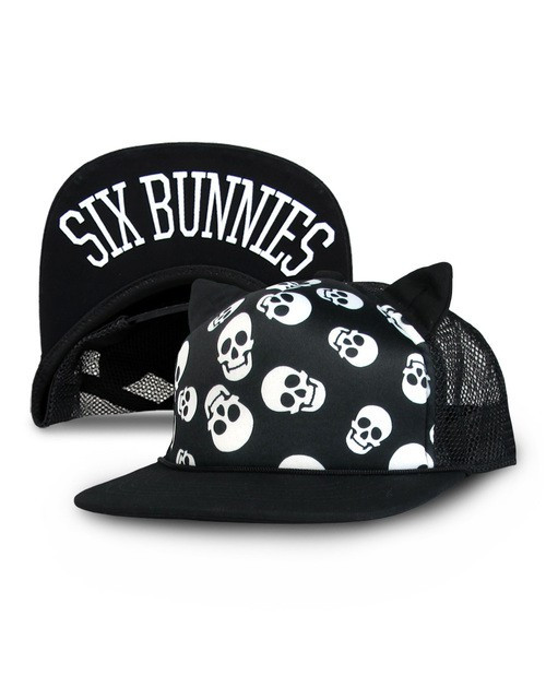 Six Bunnies Polka Skull Kid's Cap