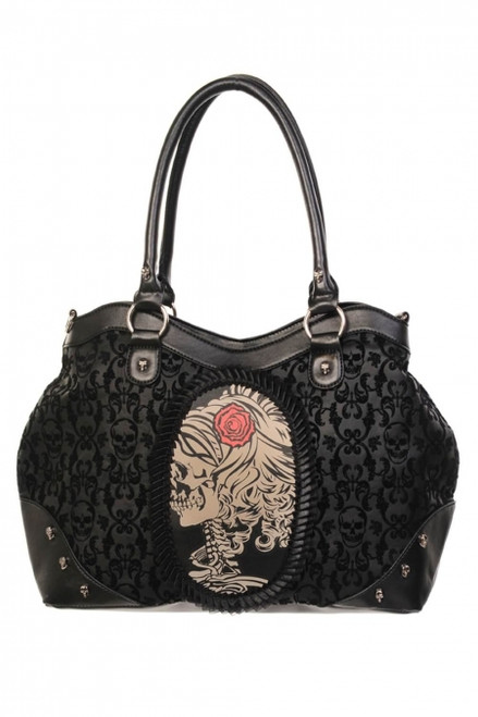 Banned Flocked Cameo Lady Rose Handbag  BBN-757