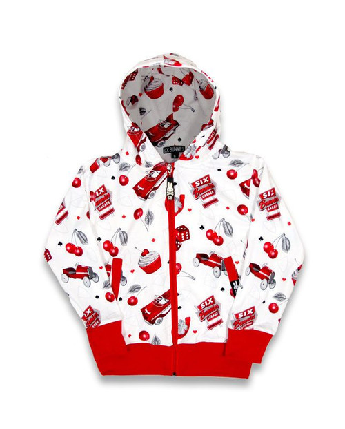 Six Bunnies Hot Rod Cherry Kids Hoodie