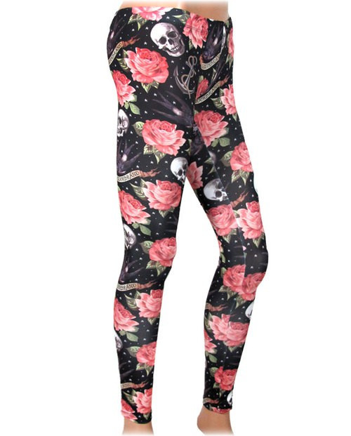 Liquor Brand Rose Tattoo Legging