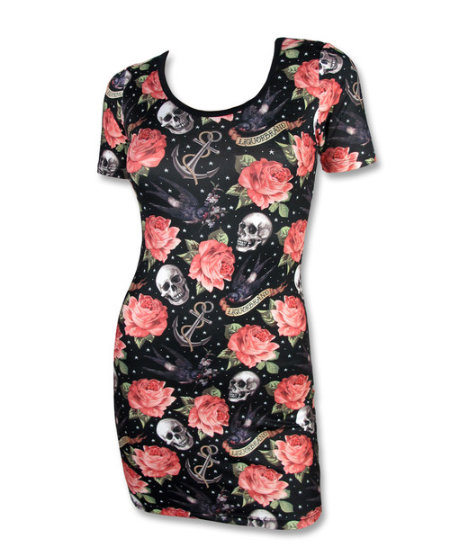 Liquor Brand Rose tattoo Bodycon Dress  LB-DRE-00105