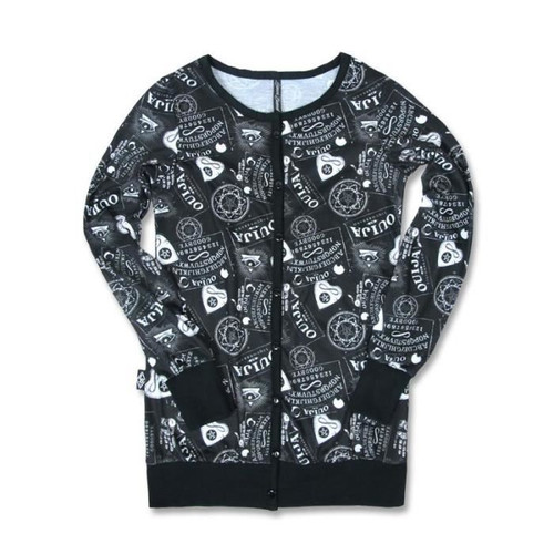 Liquor Brand Ouija Multi Pattern Ladies Cardigan