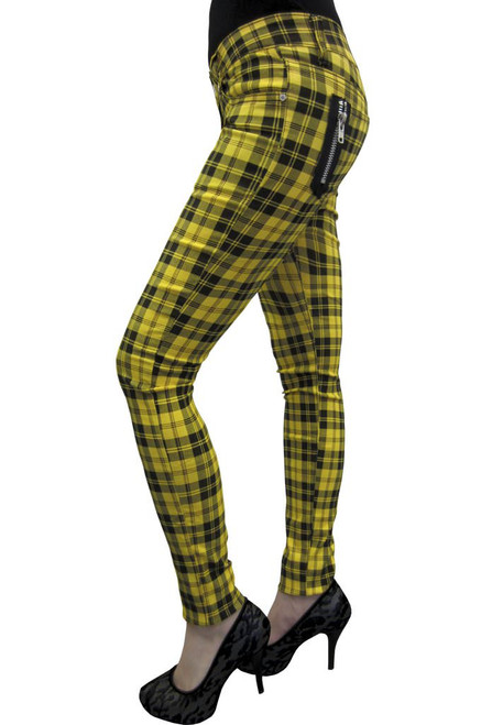 Banned Check Skinny Jeans Yellow