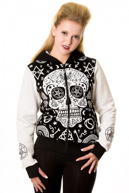 Banned Black White Skull Pentagram Hoodie  HBN-051