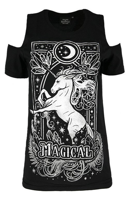 T-shirt épaule froide MAGICAL UNICORN GRAY RST-T-MU