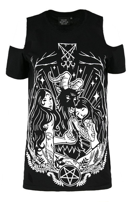 Chemisier occulte LUCIFER Tee de Cold shoulder RST-T-LUCIFER