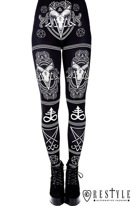 "Black gothic leggings with Ram skull and pentagram ""SATANIC LEGGINGS"" RST-L-SATANIC"