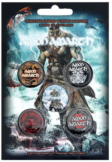 Amon Amarth Viking Logo Button Badge Pack