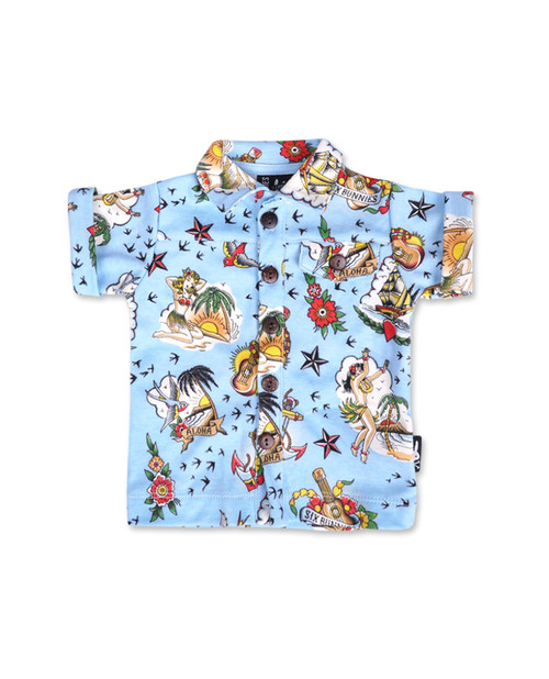 Six Bunnies Aloha Baby Button Shirt  SB-BSH-19001-NCL