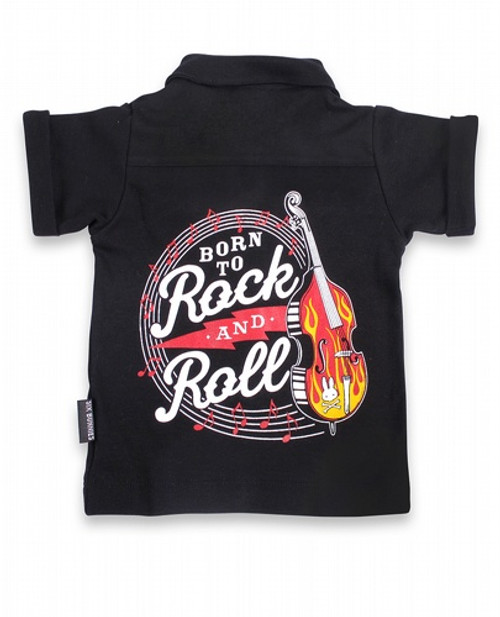 Six Bunnies Born To Rock And Roll Baby Button Shirt  SB-BSH-19004-NCL