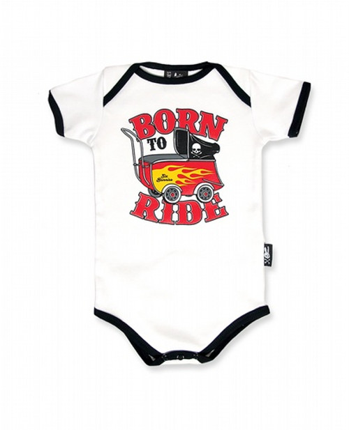 Six Bunnies Born To Ride Baby Romper  SB-ROP-00051-WHT/BLA