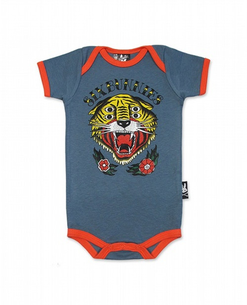 Six Bunnies Little Tiger Baby Romper  SB-ROP-00141-GRY/SCA