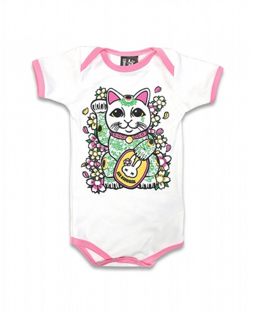 Six Bunnies Lucky Cat Baby Romper  SB-ROP-00151-WHT/PNK