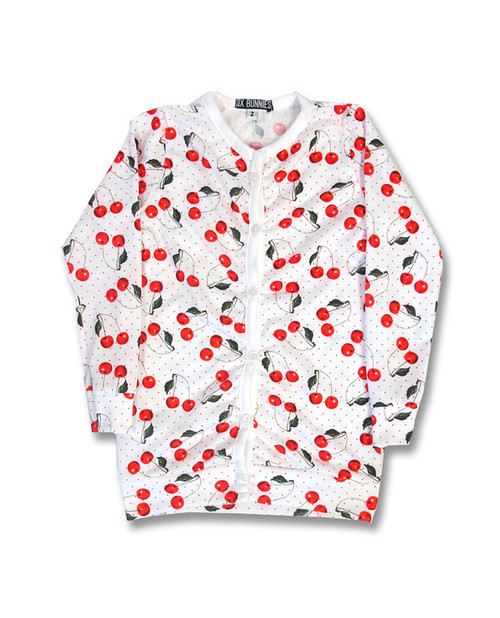 Six Bunnies Cardigan Cherry White Kids  SB-CAR-00001-NCL