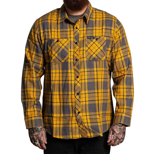Chemise à manches longues en flanelle de melon sale jaune  SULLEN-SCM2634