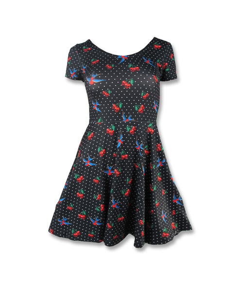 Liquor Brand Cherries Skull Skater Dress  LB-DRE-CS