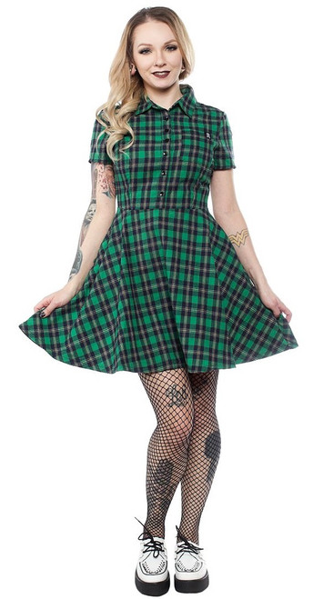 Sourpuss Green Plaid Button Down Dress  SP-DR-GPBD