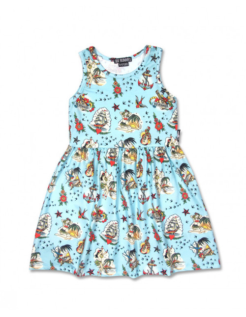 Six Bunnies Robe pour enfants Aloha Sailor Blue  SB-KDR-00046