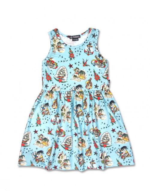 Six Bunnies Aloha Sailor Blue Kid's Dress  SB-KDR-00046