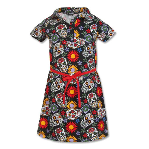 Six Bunnies Sugar Skull Kid's Collar Dress  SB-KCDR-SUGARSKULL