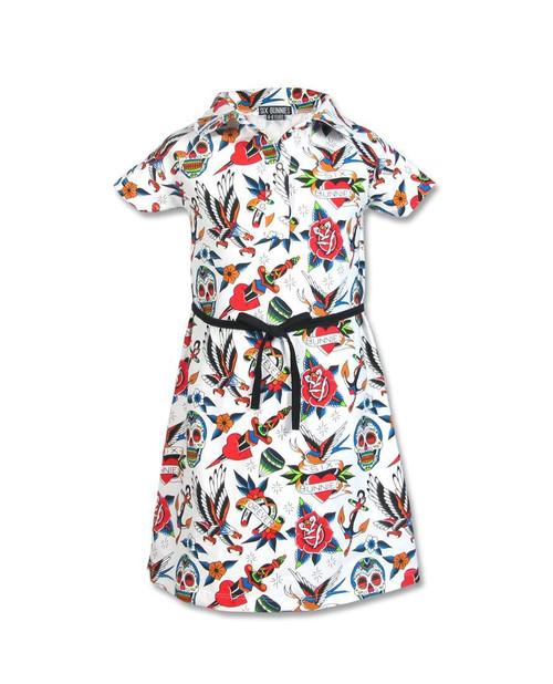 Six Bunnies Tattoo Shoppe Kid's Collar Dress  SB-KCDR-TS