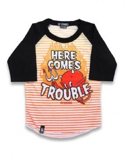 Six Bunnies Here Comes Trouble Kid's Raglan  SB-KRS-TROUBLE