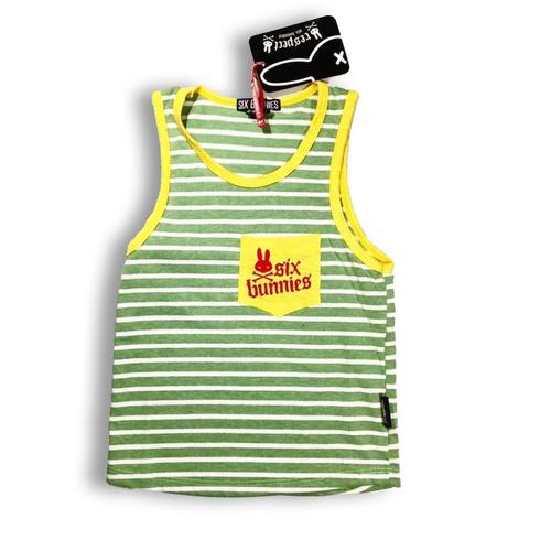 Six Bunnies Green Stripe Yellow Kids Tank Top