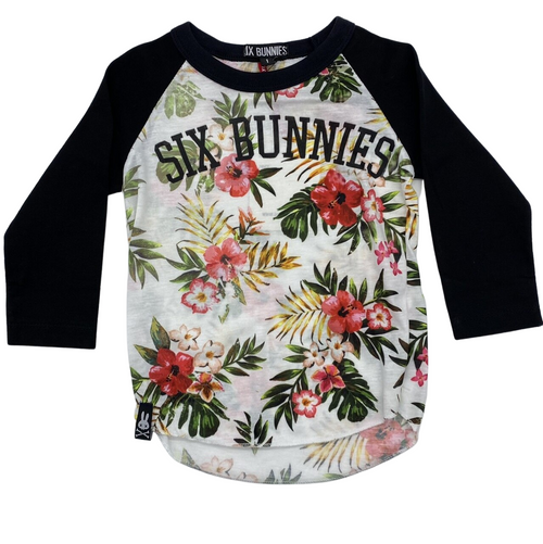 Six Bunnies Aloha White Kids Raglan