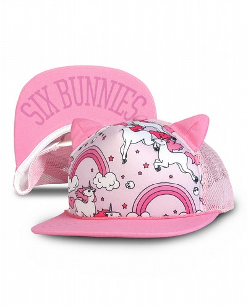 Six Bunnies Rainbows Pink Kid's Cap  SB-CAP-062