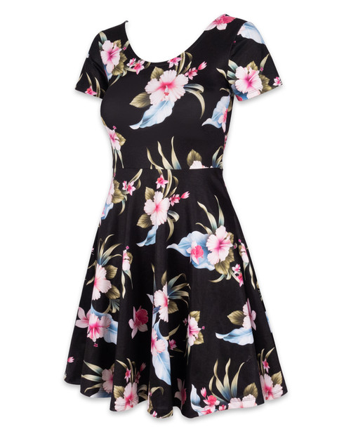 Liquor Brand Luau Black Skater Dress
